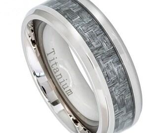 Titanium Ring, Grey And Black Carbon Fiber, basket weaved, Men Titanium Wedding Band, Ring, Mens ring, man ring