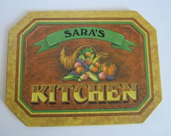 "Vintage ""Sara's Kitchen"" Trivet/Hot Plate or Wall Hanging"
