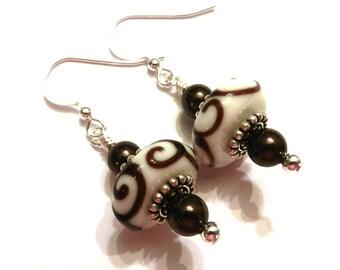 White & Brown Swirl Lampwork Earrings With Brown Swarovski Pearls