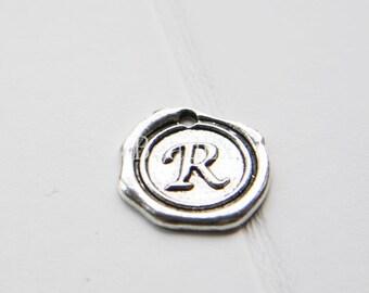 12pcs / Wax Seal Letter / Oxidized Silver Tone / Base Metal / Charm / Alphabet R (YA15706//E323)