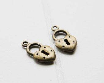 20pcs / Lock / Antique Brass Tone / Base Metal / Charm (YB1594//A326)