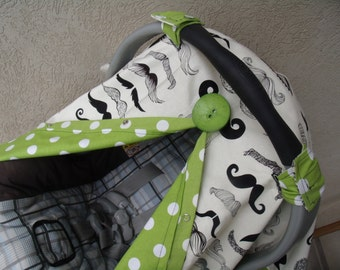 Carseat Canopy Mustache Lime Dot carseat cover