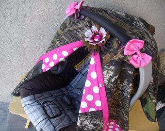 Carseat Canopy Mossy Oak Camo with Hot Dot