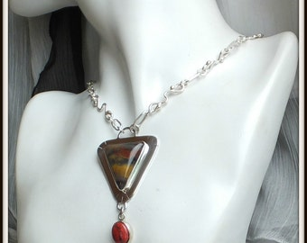 OOAK solid silver petrified wood cabochon and sonora sunrise cupjrite pendant handmade man woman