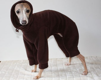 Italian Greyhound - Chocolate Brown Snood Jammies / Snowsuit - SHADEDMOON DESIGN - other colours available