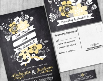 Chalkboard Wedding Invitations, Eat, Drink and Be Married Black and Yellow Invite Suite with RSVP Cards