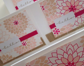 A Mod Hello with Bright Bold Fuschia and Pale Pink Flowers with rhinestones and burlap Copy