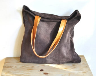 OFFER Leather tote bag Brown leather tote bag everyday bag casual bag simple bag custom tote bag with brown leather straps