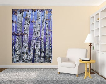HUGE SALE: 40x30 Large Room Art Textured Aspen Tree Purple Gold Mountain Landscape by MyImaginationIsYours (2 available)