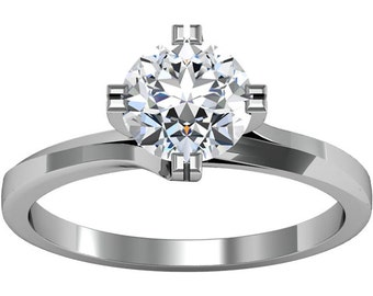 6.5mm  Round Forever Brilliant Moissanite Solid 14K White Gold  Diamond  Engagement Ring-ST231144