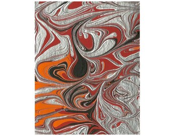 Abstract Art ACEO in Black, Red, Orange and Metallic Silver
