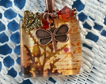 Poppies pendant necklace charms crystal