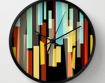 Magic Glass Wall clock - Multicolor Retro Wall Clock - Black Blue Red Yellow Orange - Original Design - Home decor by Adidit