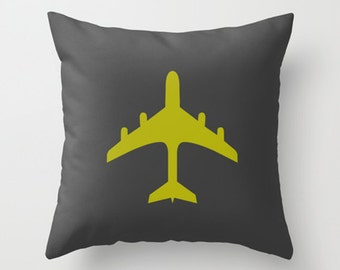 Throw Pillow Cover - Airplane - Chartreuse and Charcoal - 16x16, 18x18, 20x20 - Nursery Bedroom Original Design Home Décor by Adidit