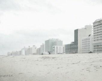 Virginia Beach Photograph, Beach Hotels Seascape, Pale Gray Blue White Print, Dreamy Vacation Seascape 8x12