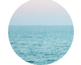 Circular Photograph, Modern Ocean Circle Photograph, Ocean Water Horizon Print, Aqua Pink Wall Art 8x8, 8x10