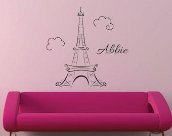 Eiffel Tower Monogram Paris girls monogram wall decal vinyl decal