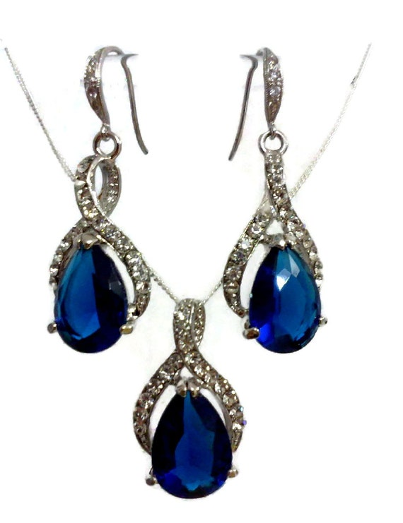 Something Blue Bridal Jewelry Set, Sapphire Bridal Necklace, Cz Drop Bridal Earrings, Swarovski Wedding Jewelry, Bridesmaids Gifts, TWIRL