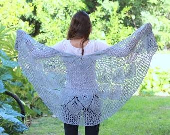 Gray Shawl Knit Lace Shawl, Romantic Shawl for Women, Casual Knit Gray Outerwear