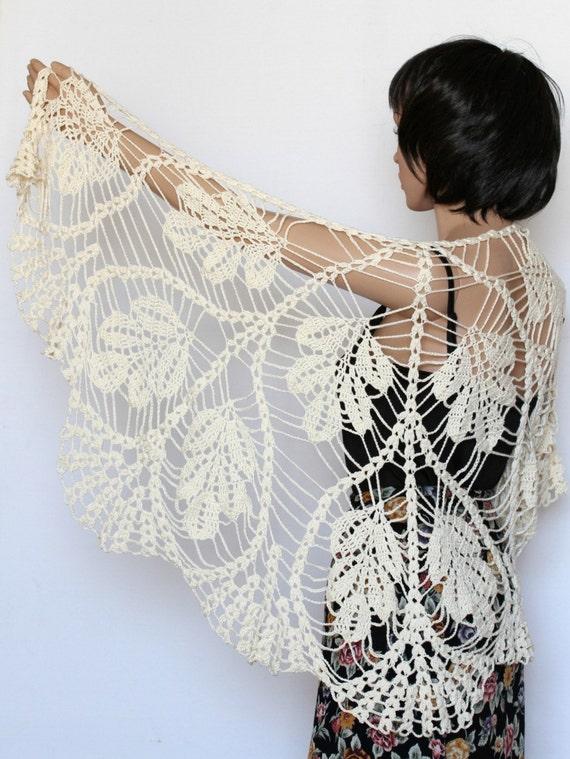 Ivory Off White Shawl Lace Knit Wedding Wraps