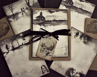 Scary Stories - 10 Note Card Set with Skull Envelopes