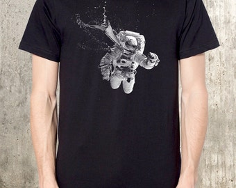 Men's T-Shirt - Astronaut Urban Art Illustration - Men's Screen Printed T-Shirt - American Apparel - Available in S, M, L, XL and XXL