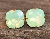 Mint Green Opal Large Swarovski Stud,Rounded Square Post Earrings,Swarovski Stud,Chrysolite Opal,Opal Stud,Bridesmaids,Rhinestone,Crystal