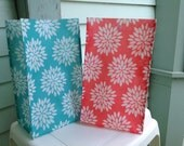 Reusable Lunch Bags-Peach-Teal-Flower Burst-Lightweight-Summer-Eco Friendly-Now with Velcro Closure