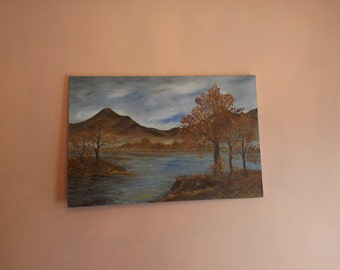 "Sale Oil Painting Landscape or lakescape by Artist S Wolf.  Signed, 1981 . unframed. Size 36""x 24"". Autumn. Oil on canvas. Gift"