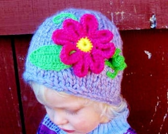 Baby Hat Toddler Hat 2-T Hat Adorable Purple Hat with pink flower. little girl hat