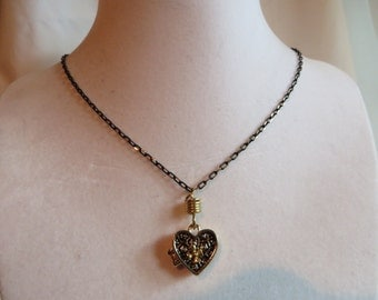 """24 1/2"""" Gold Heart Prayer Box Necklace on Gold and Black Chain, necklace, gold, heart, prayer box, black chain, magnetic"""