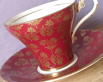 Antique Aynsley red tea cup and saucer set, English tea cup set, red and gold tea cup, bone china tea set, red china wedding gift,