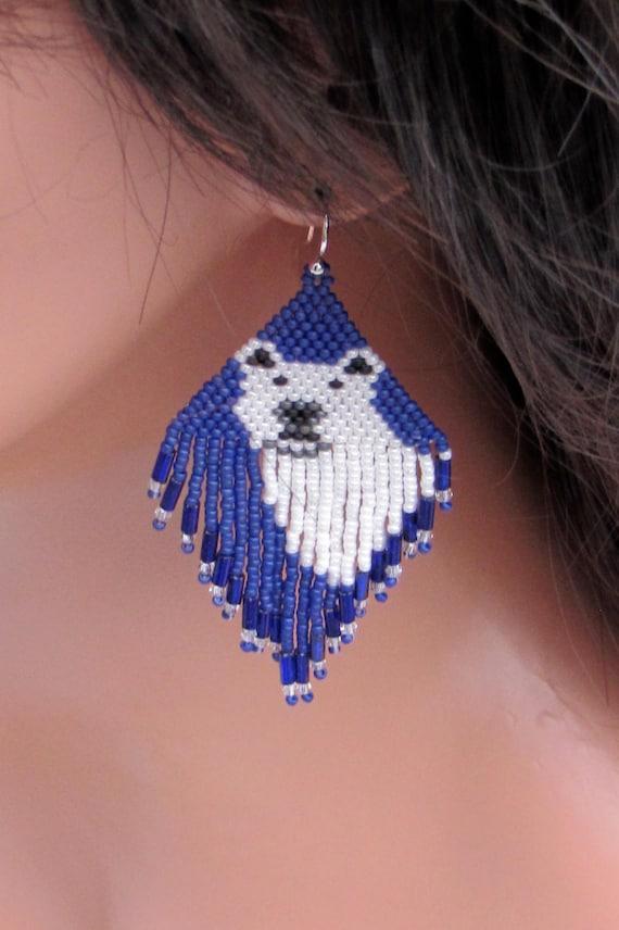 Beaded Polar Bear Earrings Seed Bead Blue And White Bear