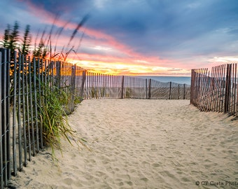 Beach Sunrise Print, Beach Path, Footprints, Atlantic Coast Ocean Sunrise, Rehoboth Beach Delaware Fine Art, Blue,Orange, Seaside Art