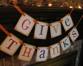 Give Thanks Banner Autumn Colors Garland Bunting Swag Sign Beautiful Fall Photo Prop