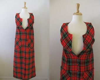 1960s Plaid Maxi Dress / 60s Tartan Plaid Sleeveless Maxi Dress