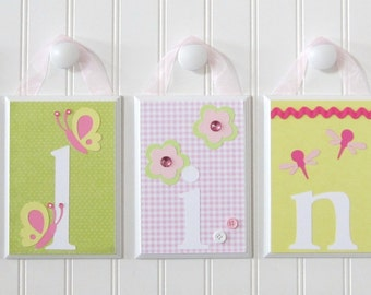 Name Blocks . Nursery Name Blocks . Nursery Decor . Baby Name Blocks . Hanging Wood Name Blocks . Garden . Flowers Birds Butterflies . Alina