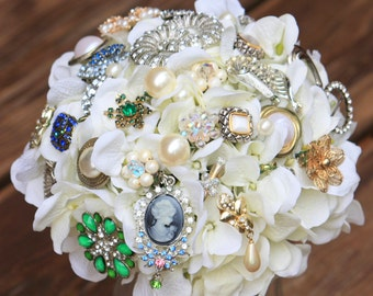 Brooch Bouquet vintage silver ivory gold bouquet pearl, Deposit only