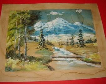 Old Vintage European Watercolor painting Landscape Impressionism Signed