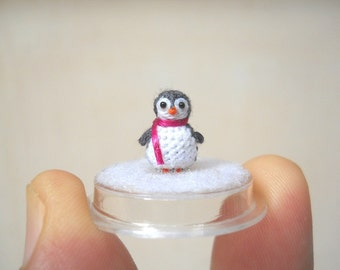 Micro Penguin in Dome - Dollhouse Miniature Crochet Tiny Stuffed Animal - Made To Order