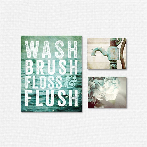 Aqua teal bathroom decor set bathroom sign set of 3 prints for Blue and gold bathroom sets