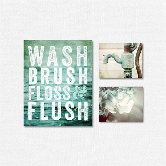 Aqua teal bathroom decor set bathroom sign set of 3 prints for Bathroom decor etsy