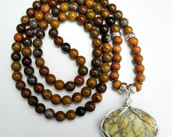 108 Stone Indian Bloodstone and Sandalwood Mala Necklace with Picture Jasper Pendant
