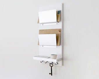 MODERN MAIL ORGANIZER: White Wall Mount, iPhone wallet key organization, home office entry chic organization unit