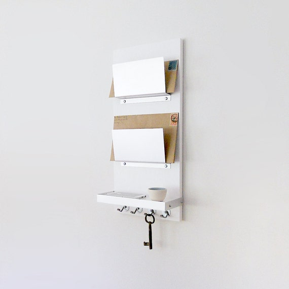 Modern Mail Organizer White Wall Mount Iphone Wallet Key