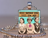 Scrabble Tile Pendant -Will Defend You Till The End-  Altered Art - Scrabble Necklace-Free Silver Plated Ball Chain (ALT18)