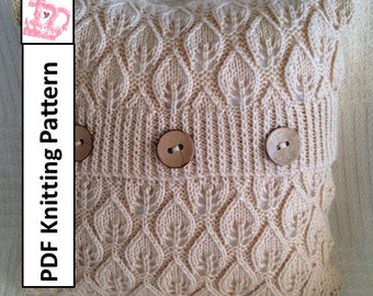 "PDF KNITTING PATTERN, pillow cover knitting pattern, knitted cushion cover pattern, 16""x16"", Leaves  pillow cover pattern"