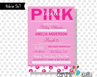 Printable Girlie Simple Modern Tickled Pink Baby Shower Invitation Card Digital File