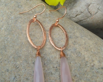 Baby Pink Earrings - Hammered Copper Earrings - Pink Chalcedony Earrings - Long Dangle Earrings