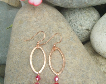 Fuscia Earrings - Small Dangle Earrings - Hammered Copper Earrings - Marquise Earrings - Hot Pink Earrings - Chalcedony-  Crystal Accent
